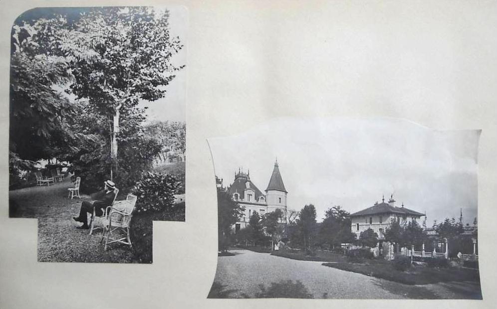Vue sur les jardins et la grande villa du Châtelet