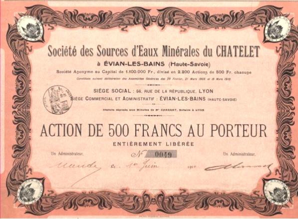 Une action de 500 francs